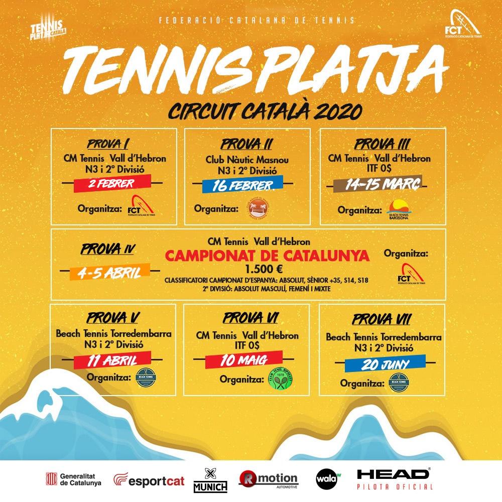 Calendari Circuit Català de Tennis Platja 1er semestre 2020